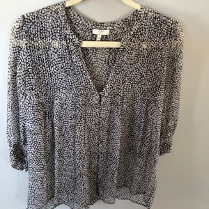 Joie Top V-Neck Silk Black White Pattern XS